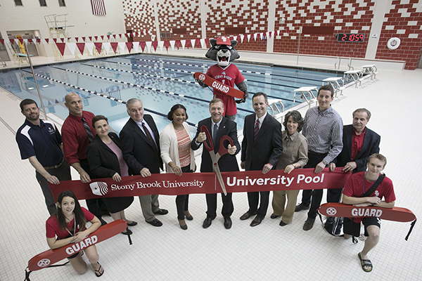 Stony Brook, NY; Stony Brook University: University Pool Ribbon Cutting Ceremony  Jessica Palermo (student lifeguard), Leslie Boyce, Jay Souza, Dr. Marisa Bisani, Matt Whelan, Janelle Atkinson, President Stanley, Shawn Heilbron, Donna Woodruff, Adam McLeod, Louis Rispoli, Peter Duffy (student lifeguard)