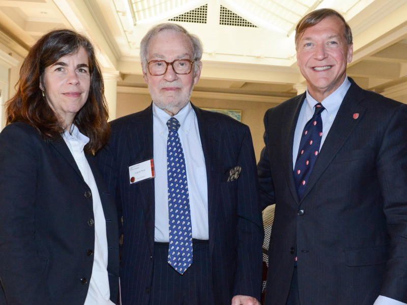 Katy Siegel, PhD, Eugene Thaw and President Samuel L. Stanley Jr. at the Eugene V. and Clare E. Thaw Endowed Chair in Modern American Art investiture held at The Century Association in New York City on May 25, 2016.