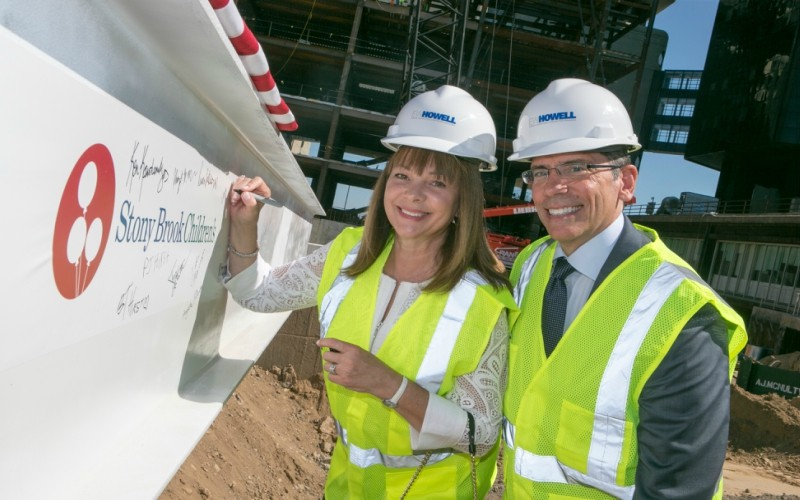 Jim and Debra Breslawski attended the Stony Brook Children's Hospital Topping Off Ceremony in July 2015.