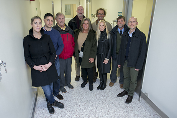Members of the Island Outreach Foundation toured the Lab for Comparative Medicine with researchers from Stony Brook University. (Back row, left to right: David Knapp, Jeronimo Cello; front row, left to right:Danielle Knapp-SanGiovanni, Jesse SanGiovanni, Jorge Benach, Christine Jay (guest of Island Outreach Foundation that day), Michele Knapp, Jesse Kuhn, David Thanassi)