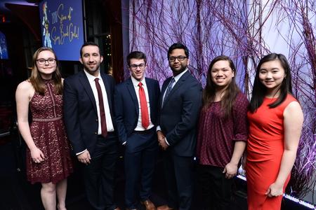 From left, Michaela Winkeler, Peter Alsaloum, Ryan Kawalerski, President Stanley, Vivekanand Tatineni, Jessica Hofflich and Helen Wong.