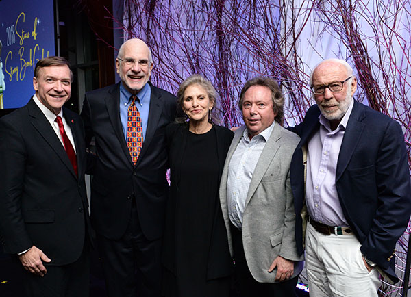From left, President Samuel L. Stanley Jr., Stony Brook Southampton Associate Provost Robert Reeves, Dorothy Lichtenstein, Rich Gelfond, Renaissance Technologies founder James Simons.
