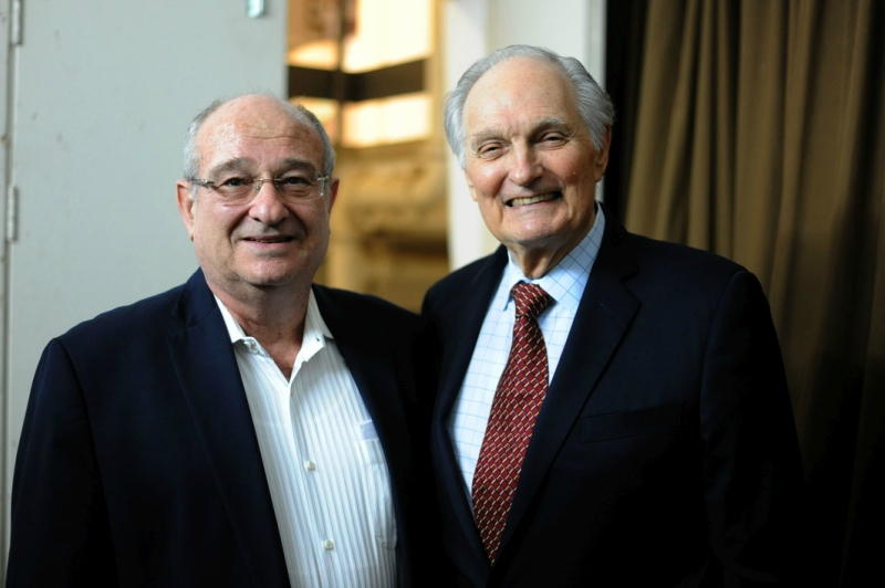 Technion - Israeli Institute of Technology President Peretz Lavie (left) with Alan Alda during the launch of the Zuckerman Institute-Alda Center Scholars Project.
