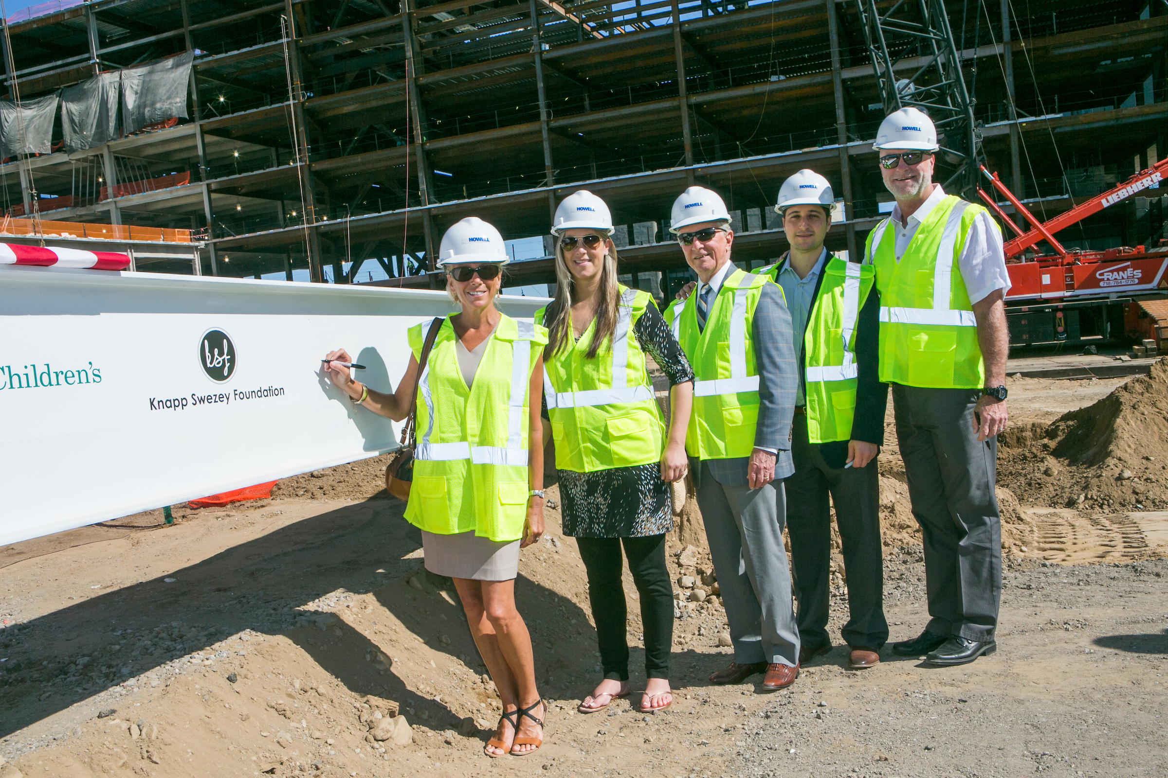 Stony Brook, NY; Stony Brook University Medical Center: Children's Hospital Topping Off Ceremony (7/24/15)  Knapp-Swezey family