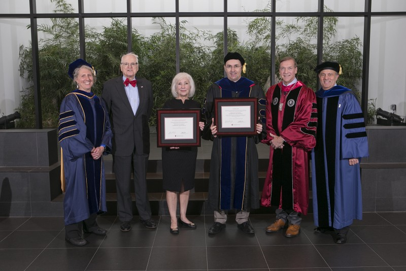 Stony Brook, NY; Stony Brook University: Investiture Ceremony of Dr. Paul Kelton, Robert David Lion Gardiner Endowed Chair in American History in the College of Arts and Sciences.   L-R: Nicole Sampson, Judge Cohalan, Kathy Curran, Paul Kelton, President Samuel L. Stanley, Jr MD, Michael Bernstein