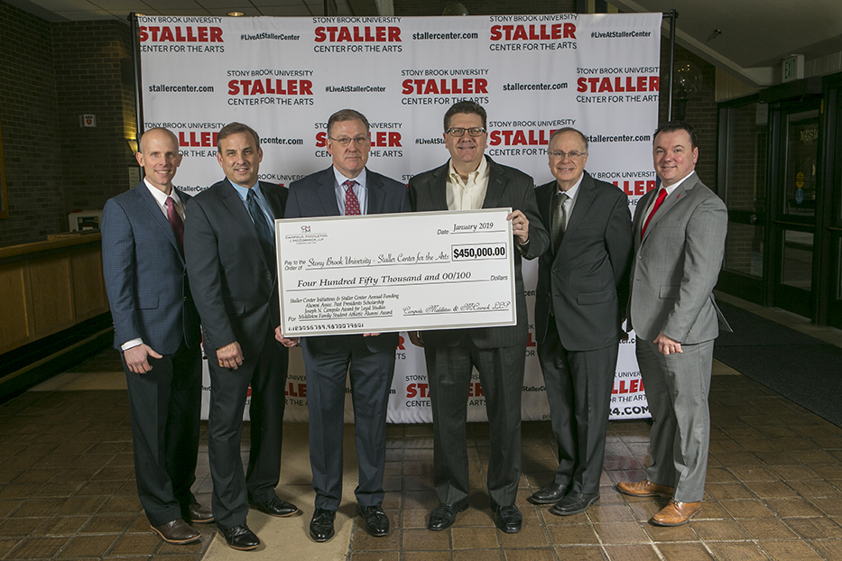 Stony Brook, NY; Stony Brook University: Donors Joe Campolo and Scott Middleton with Athletics Rob Emmerich, Staller Center Director Alan Inkles, Manny London, and matt Colson