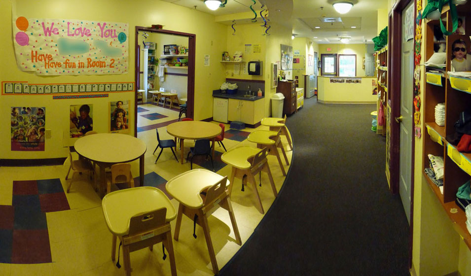 infant-toddler entrance  dining  and art area