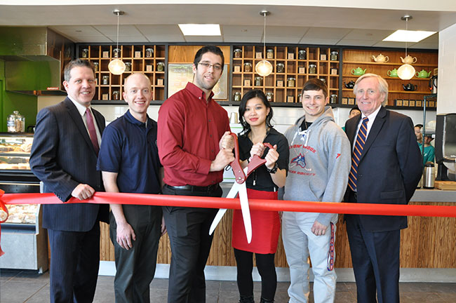 Pictured left to right: Andrew Lackmann, CEO, Lackmann Culinary Services, Kevin Conn, Assistant Director for College Housing, Campus Residences, Thomas Kirnbauer, Administrative Director, Undergraduate Student Government and Vice President of FSA Board of Directors, Caitlin Weisz, Commuter Representative Student Voice on Campus Dining, Nicholas Vollano, Resident Representative Student Voice on Campus Dining and Peter Baigent, Vice President for Student Affairs and President of FSA Board of Directors.