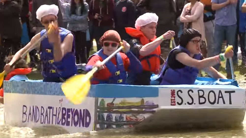 ROTH POND REGATTA , A wet and wild Stony Brook tradition reaches new heights ... and depths.