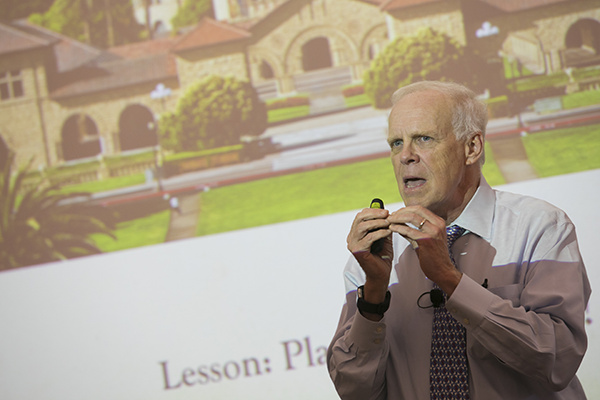 John Hennessy, MS '75, PhD '77, at his on-campus lecture in the New Computer Science Building at Stony Brook University