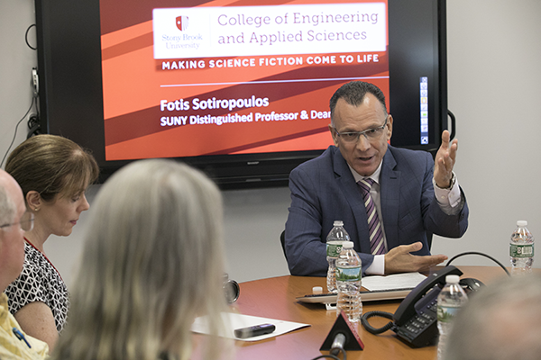 Dean Sotiropoulos presents to Senators, business leaders and press