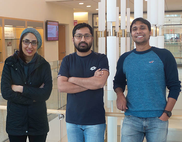 "Left to right, Najmeh Miramirkhani, Syed Billah and Prashant Pandey (""Three Computer Science Students Receive Catacosinos Fellowships"")"