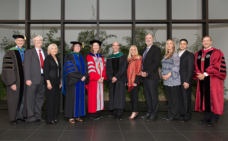 Esther Takeuchi PhD invested as the William and Jane Knapp Chair in Energy and the Environment (center in red; also pictured: Dr. Margaret McGovern as the Knapp Chair in Pediatrics; Dr. Christopher Muratore as the Knapp Swezey Chair in Pediatric Surgery.)