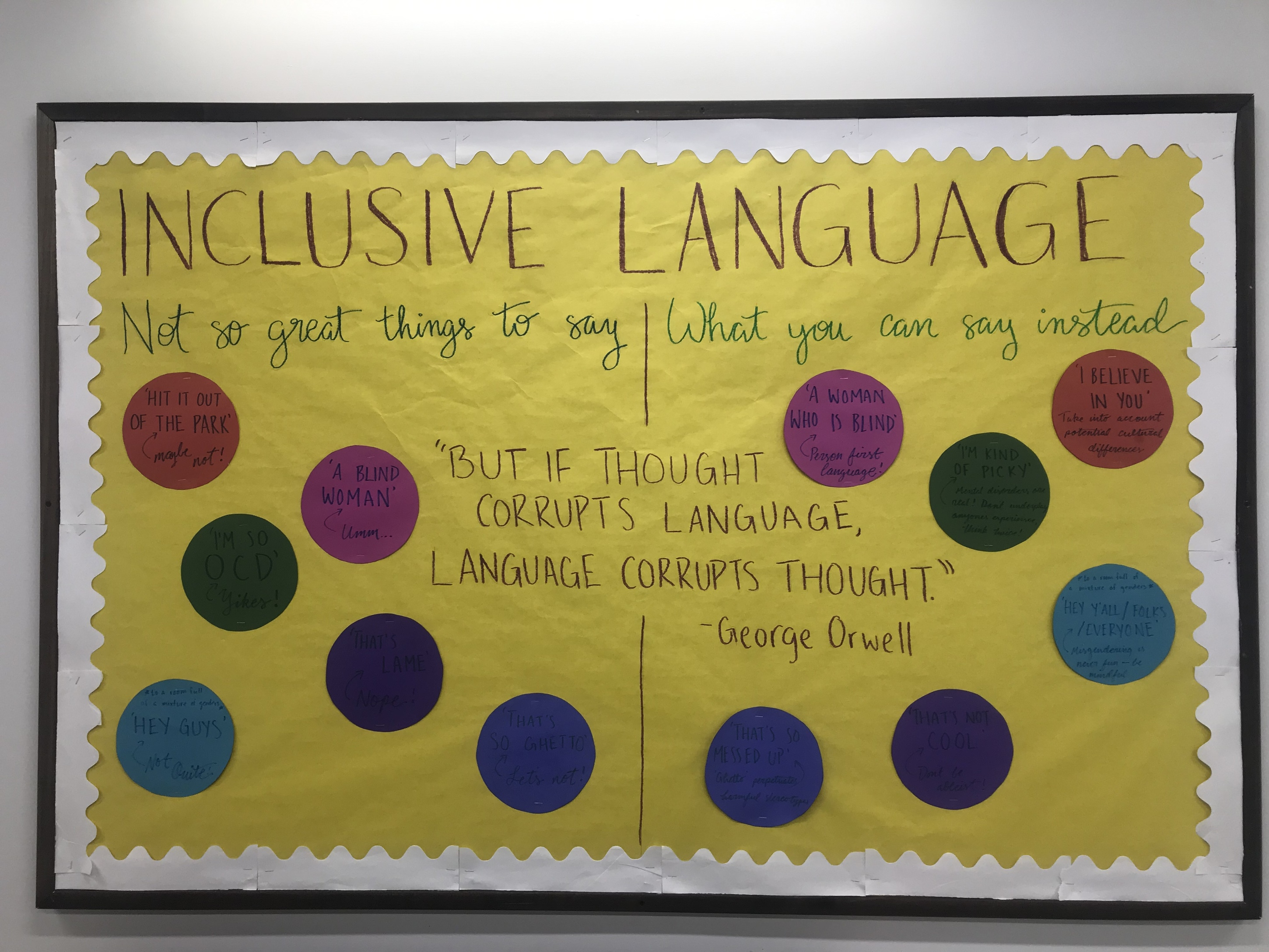 September 2019 Runner-Up Bulletin Board by Sana R.The initiative is a bulletin board which features harmful phrases and phrases which residents could say instead. For example, 'I'm so OCD' could be replaced with 'I'm kind of picky'