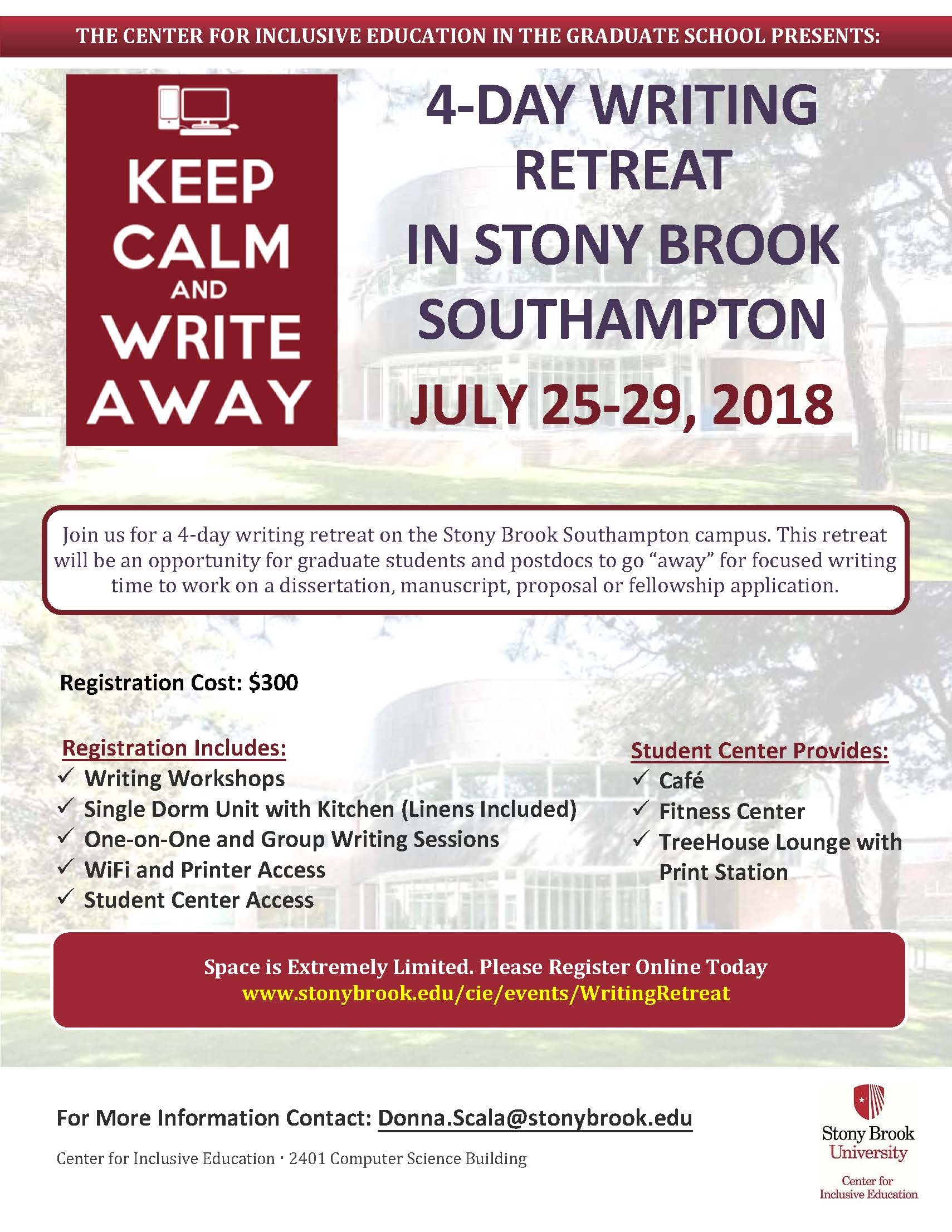 2018 Summer Writing Retreat Flyer