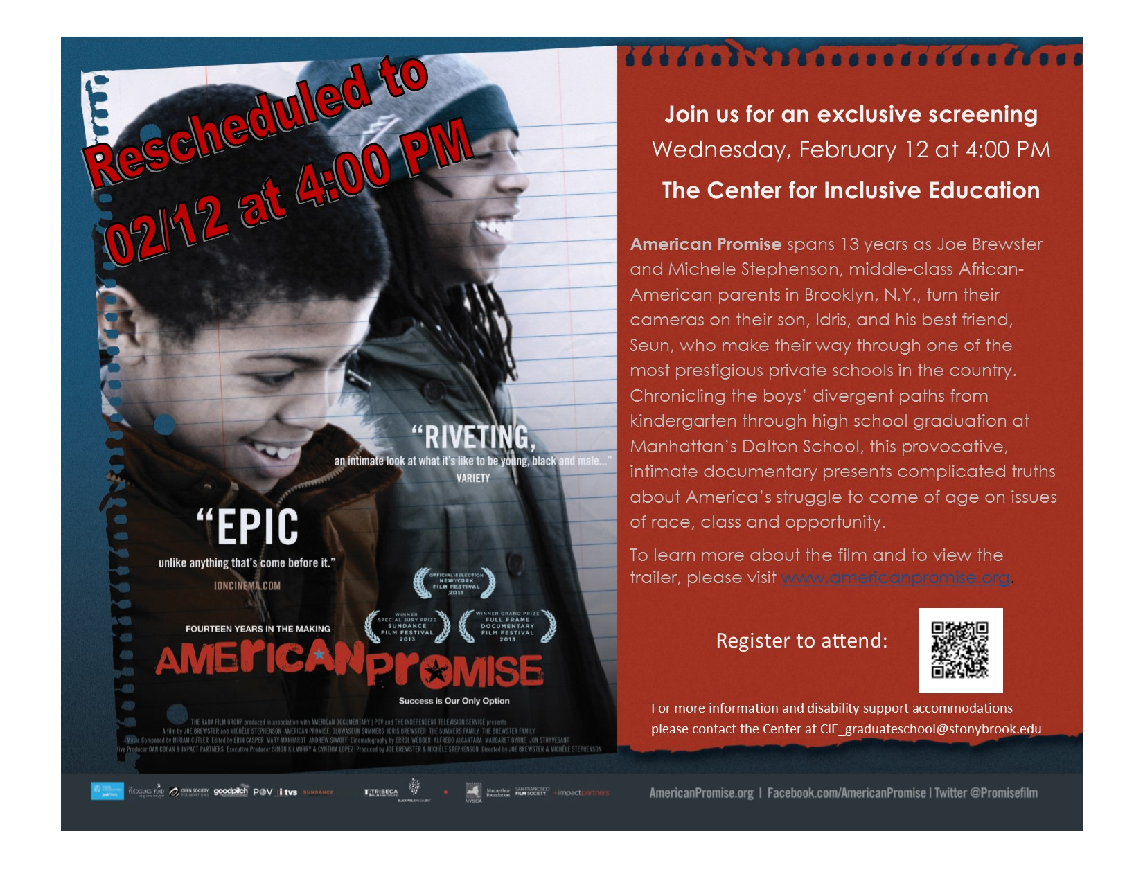 American Promise Rescheduled for February 12
