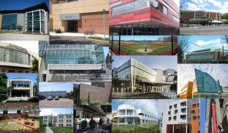 Collage of various buildings on campus