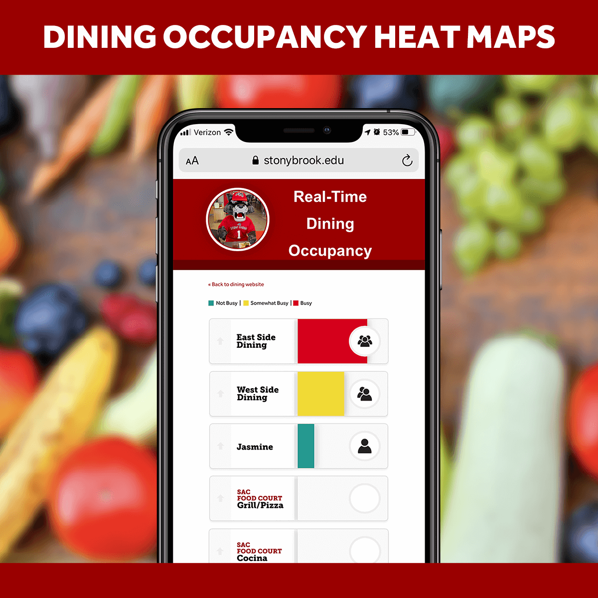 View heat maps of occupancy of dining locations before you go!