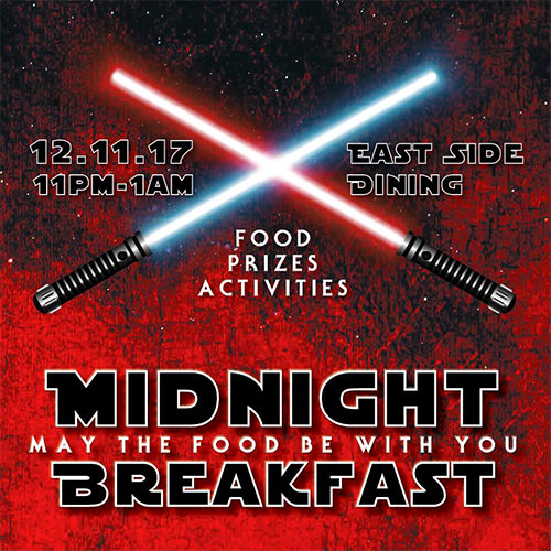 Midnight Breakfast flyer with Star Wars theme
