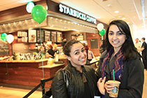 students at the Roth Starbucks grand opening