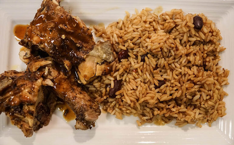 island soul jerk chicken and rice and beans