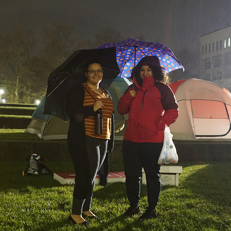 students at Tent City