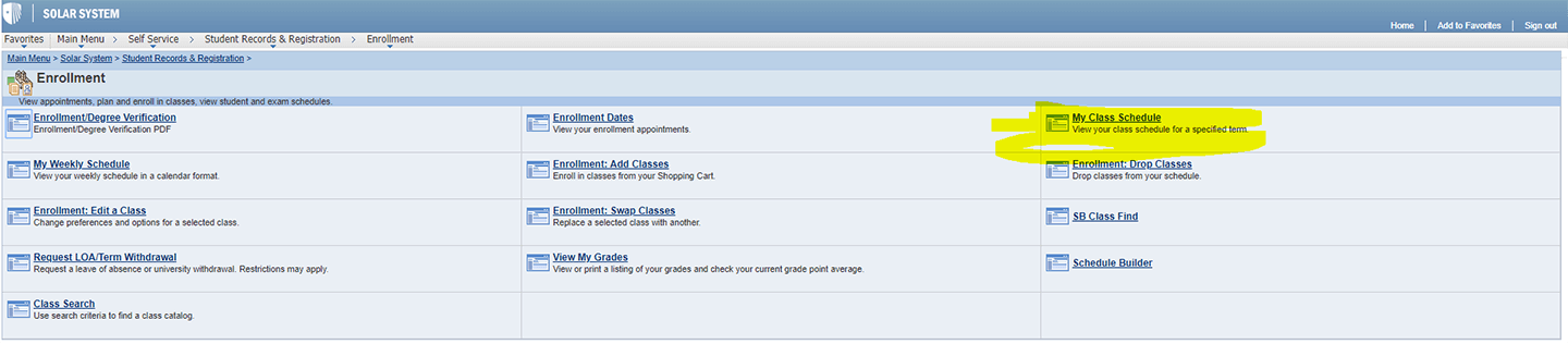 screenshot of My Class Schedule link location in SOLAR