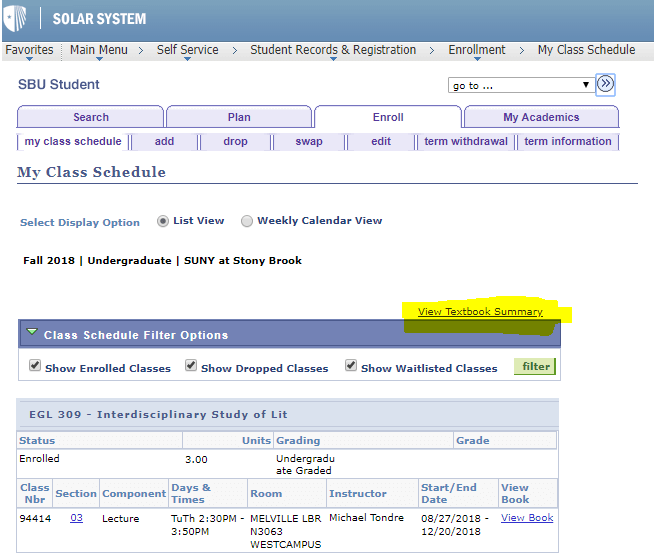screenshot of Textbook Summary page in SOLAR
