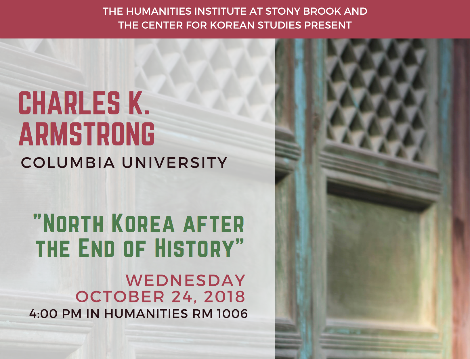 Fall 2018 Charles Armstrong event banner