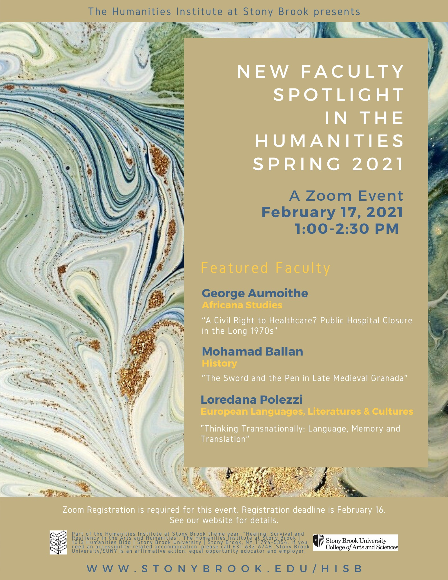 CAS humanities new faculty spotlight event poster