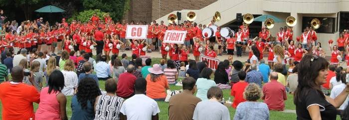 Families sitting on Staller Steps