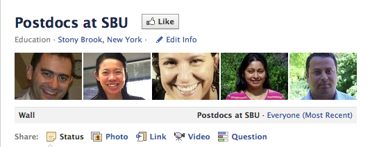 Postdocs at SBU Facebook page