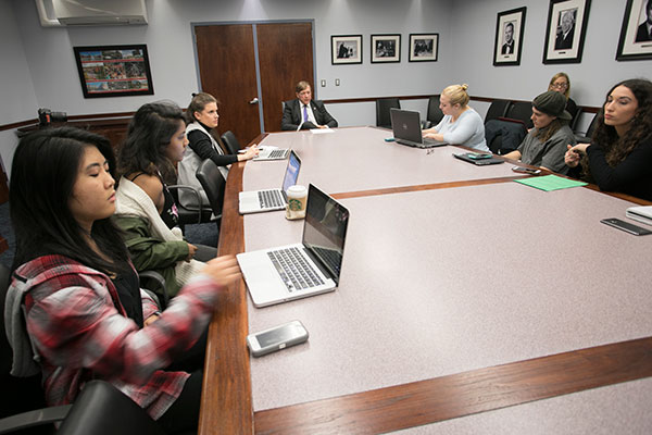 president stanley meets with the student press