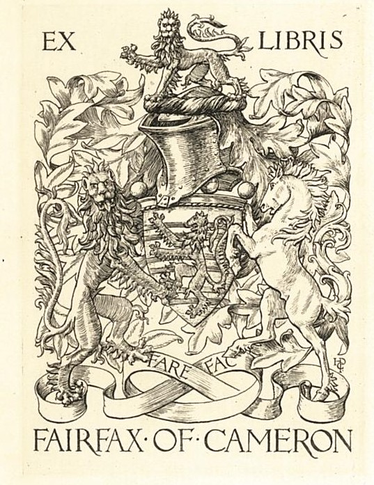 "Armorial bookplate of Fairfax of Cameron, with motto ""Fare Fac."""