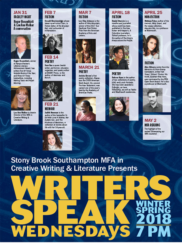 spring 2018 writers speak schedule