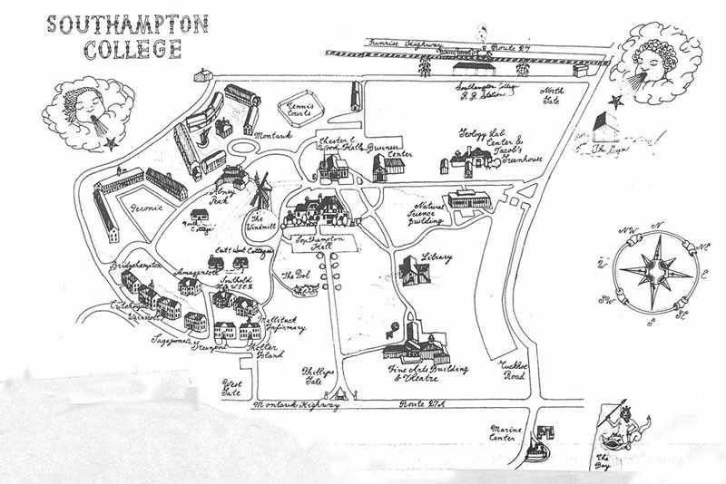 An early illustrated Southampton College campus map.