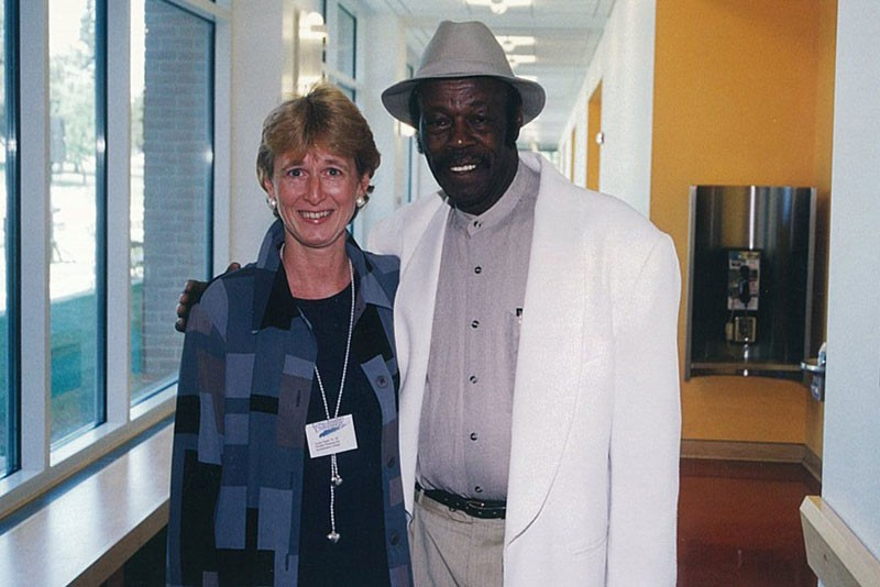 Southampton College director of financial aid Sue Taylor and the popular George Harney, foreman of the custodial staff.