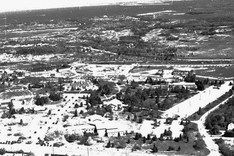 Early aerial photo of the campus.
