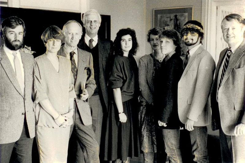Carla Caglioti accepting a Chancellors Scholarship in 1986 in honor of author George Plimpton, to her right.  Also in the photo at left are Tim Bishop,  Sue Taylor and Angier Biddle Duke, with Southampton mayor William Hattrick at far right.