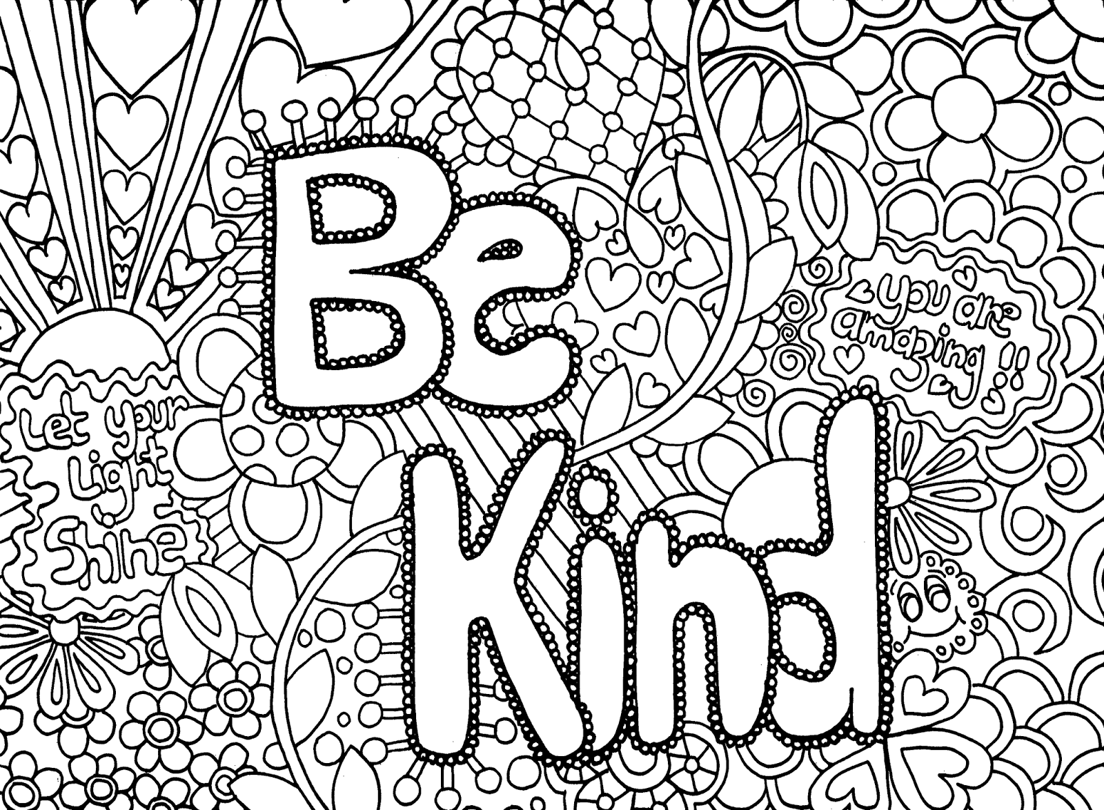 Coloring Sheet - Be Kind