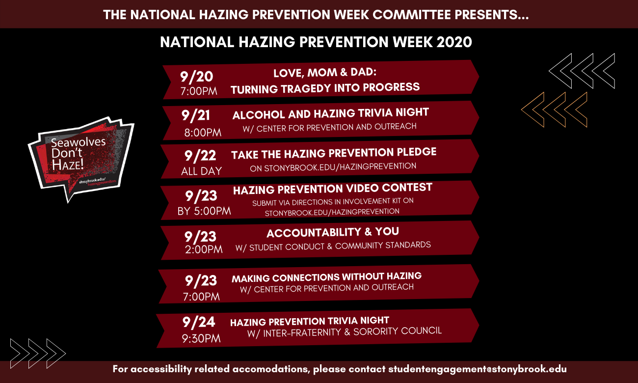 hazing prevention week calendar