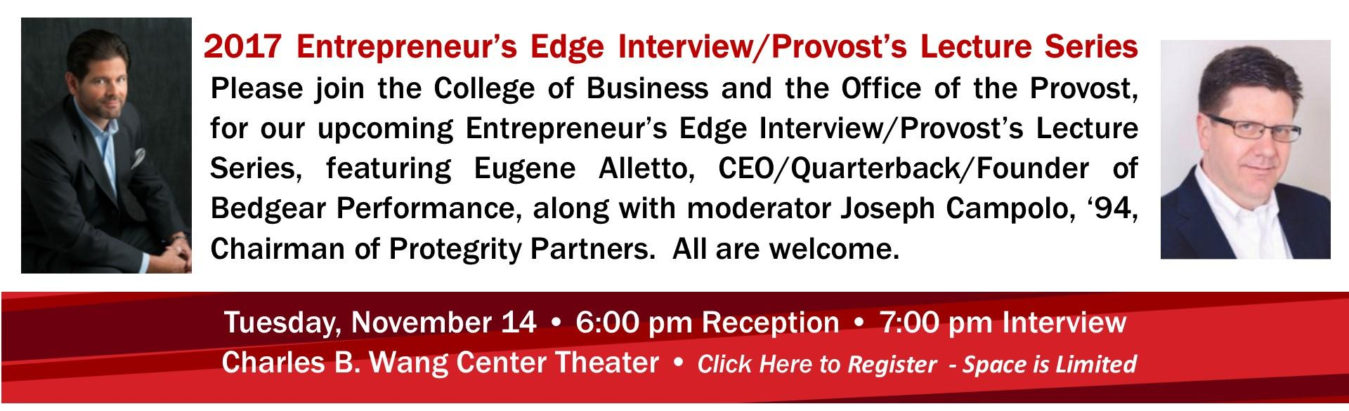 2017 Entrepreneur's Edge Interview/Provost's Lecture Series