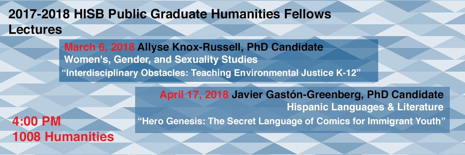 HISB Public Graduate Humanities Fellows lectures