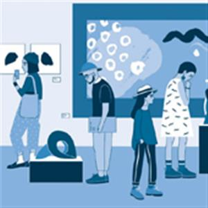 vector illustration of people looking at art