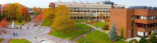 Stony Brook Campus, a landscapr view of the Academic Mall from overhead