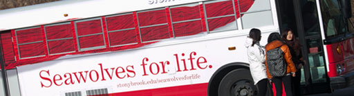 Seawolves For Life written on the side of a Stony Brook bus