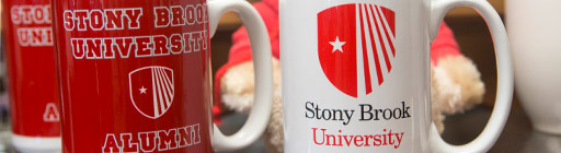 Stony Brook merch, stuffed bears and mugs