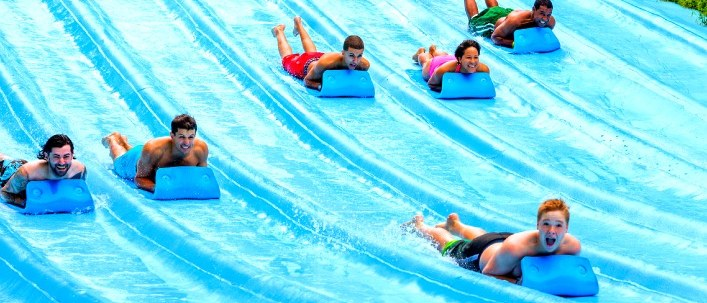 People on a gigantic water slide
