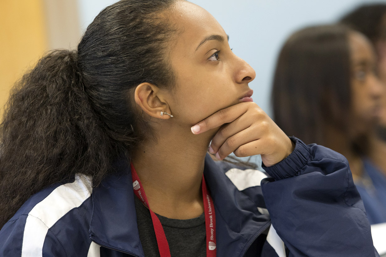 Student listening during a class