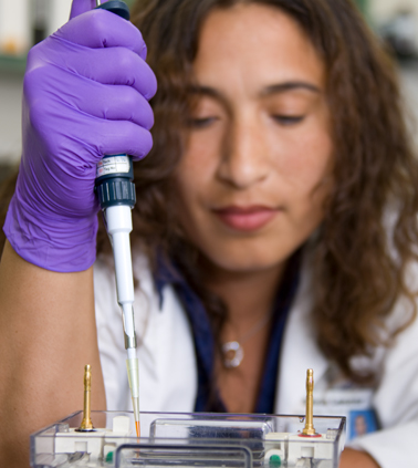 A researcher holds a syringe as she performs a test